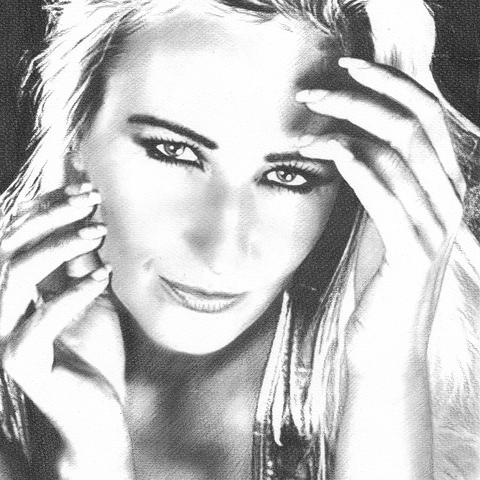Kohlezeichnung von Model Highlife Kathleen