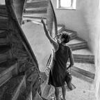 Bei der Doppelwendel Treppe in Graz