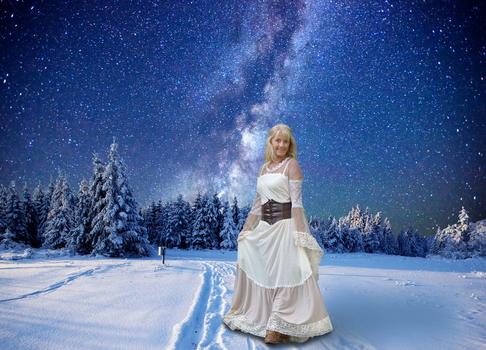 Im Schnee. Komposition.
