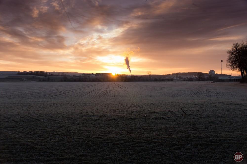 Sonnenaufgang über der alten Molkerei