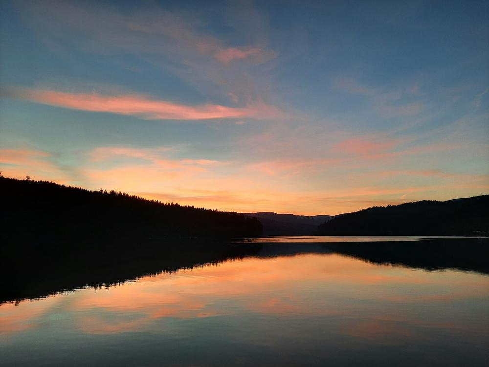 Sonnenuntergang Soboth Stausee