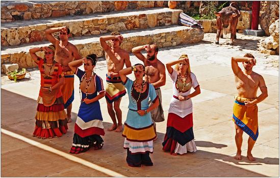 minoisches Tanztheater in Karteros, Kreta, Tänzer