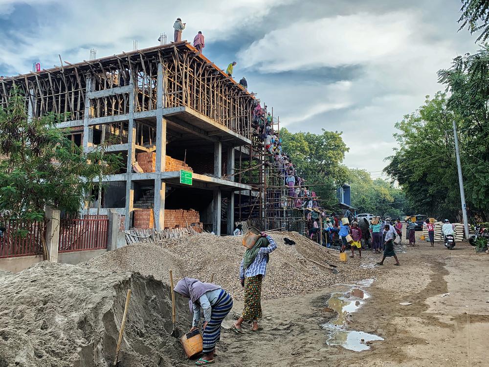 Decken betonieren in Myanmar