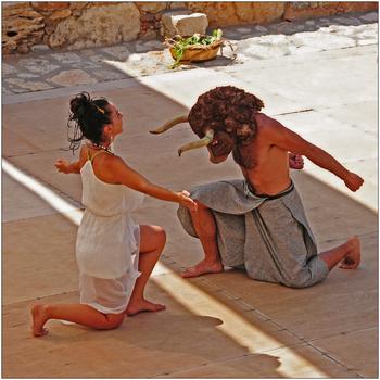 minoisches Tanztheater in Karteros, Kreta, Minotaurus