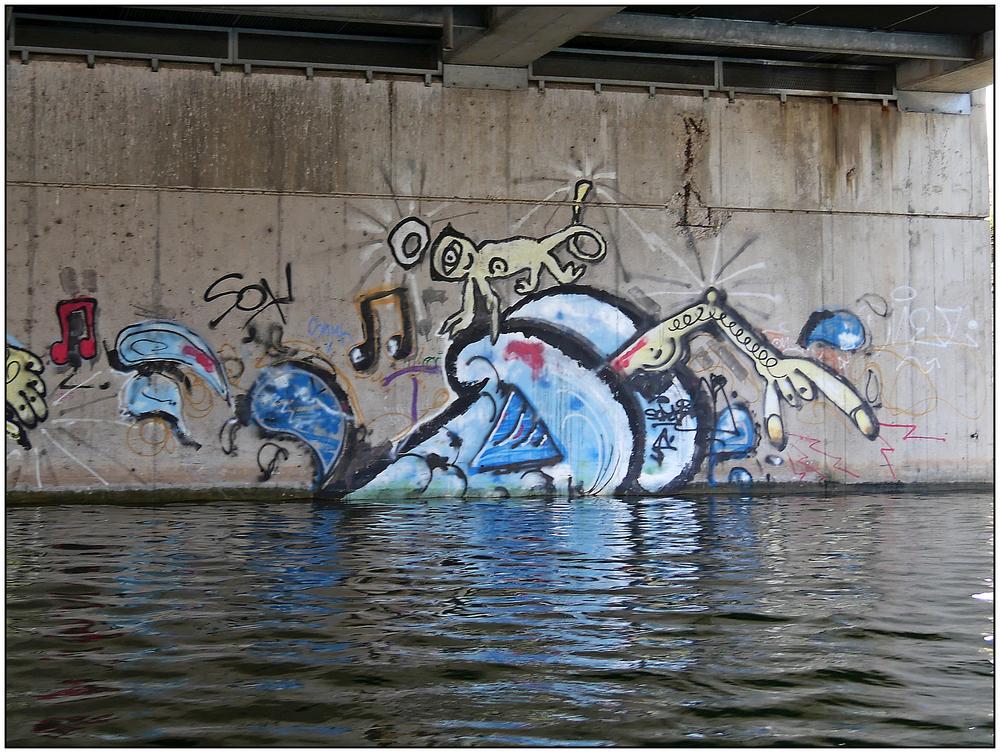 Wien, Alte Donau, Graffiti