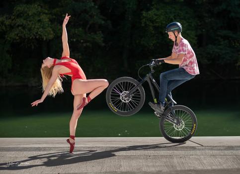 ballerina and bike