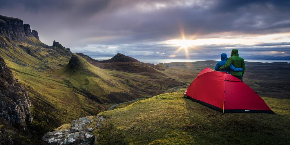 Zelten am Quiraing, Schottland