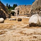 Steingeschosse an Rhodos' Stadtmauer