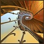 Holzwendeltreppe von unten