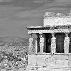 Auf der Akropolis / Athen - Vorhalle d. Erechtheion mit Karyatiden