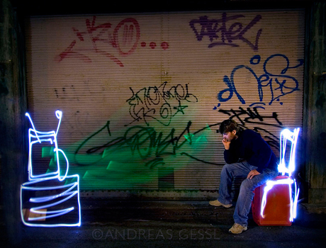 "light painting ""TV Junkie"""