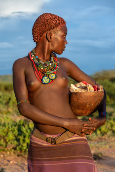 young woman from hamer tribe, ethiopia
