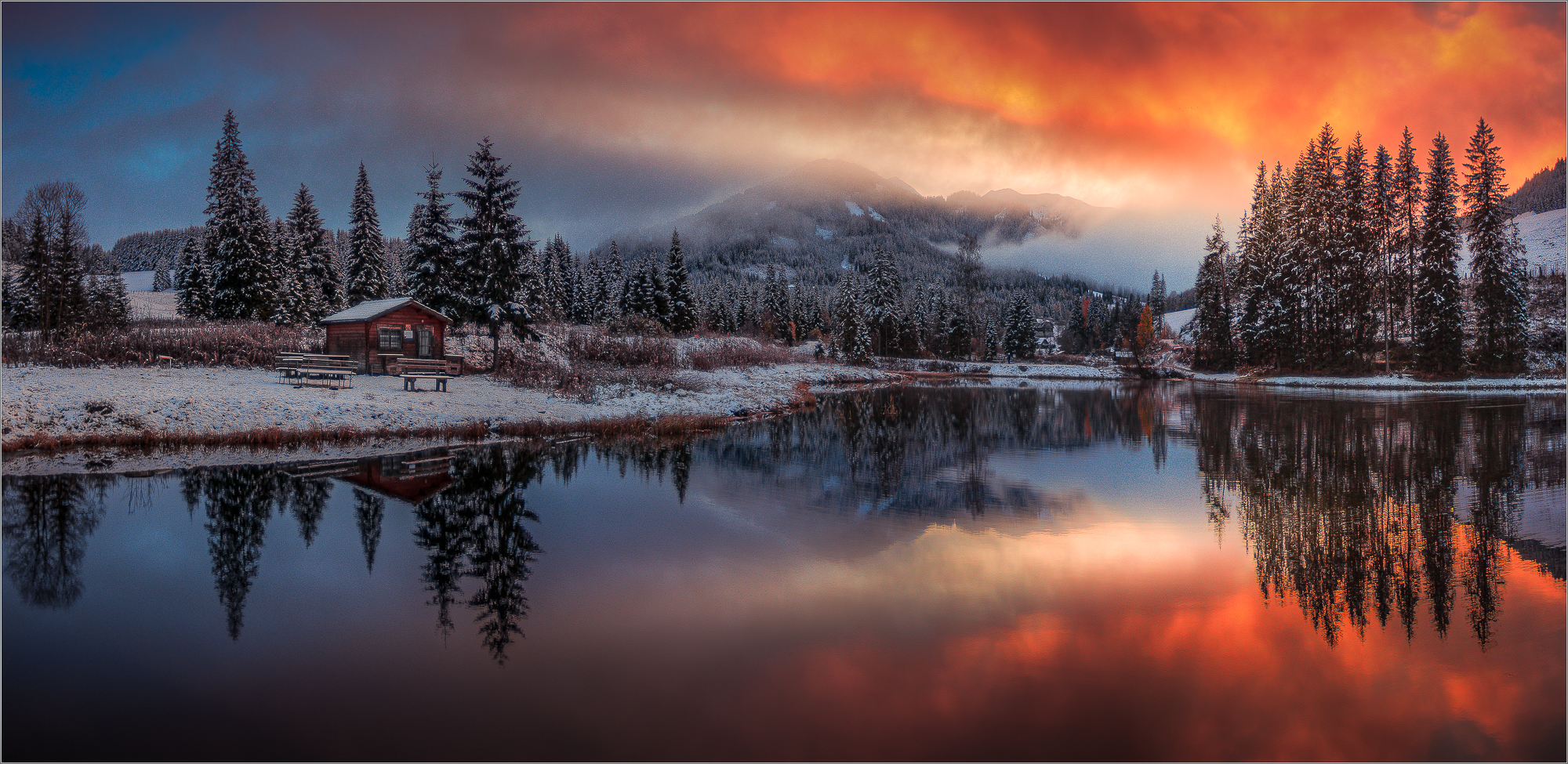 Morgenrot am Teich