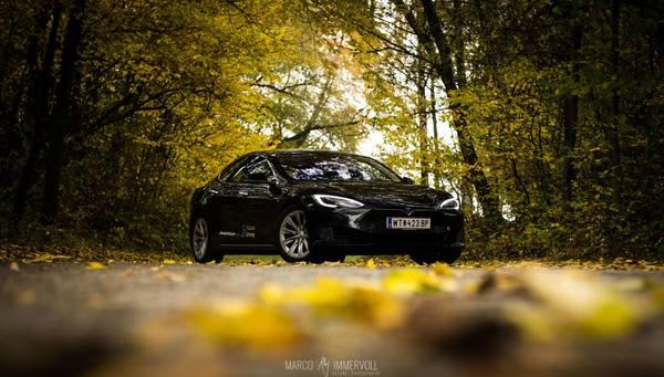 Tesla Model S im Herbst