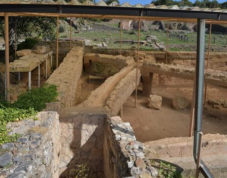 Kanalisation und Wasserleitungen eines römischen Hauses in Roselle