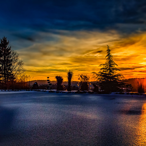 Winterabend am Teich